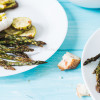 Baked asparagus with poached egg and zucchini